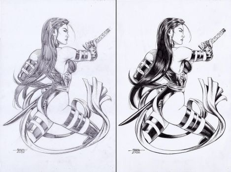 Psylocke - Pencil-Ink by edtadeo