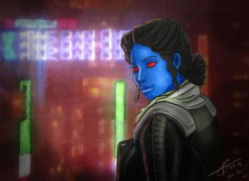 Swtor - OC portrait 1 ''Nar Shaddaa's lights'' by Polyne55