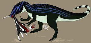 Neovenator and Hypsilophodon by StygimolochSpinifer
