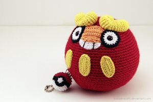 Amigurumi Darumaka with Pokeball Keychain