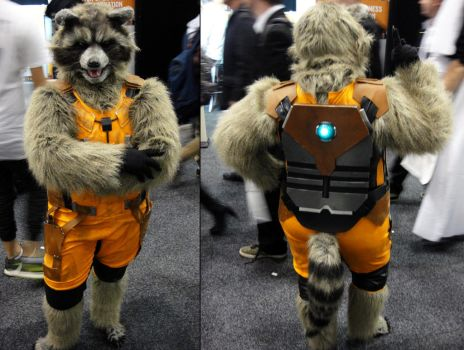 Rocket Raccoon front and back by MudgetMakes