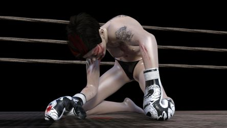 Punched to the Canvas (Bloody) by Fist-Fight-Girl