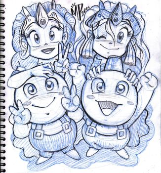 Snow Bros. and the Princesses by AxolotStudio