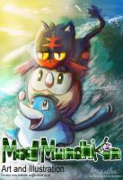 Pokemon Sun and Moon starters by Mad--Munchkin