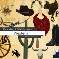 Western - Cowboy Photoshop and GIMP Brushes by redheadstock