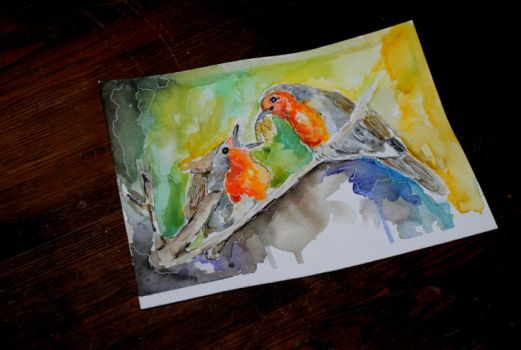 Feed the bird, watercolor by bezag