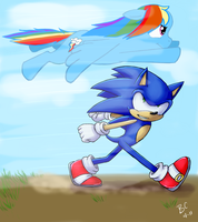 Sonic and Rainbow Dash by Mitzy-Chan