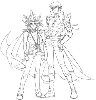 Yami And Kaiba (Lineart) by Ycajal