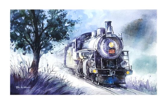 The Midnight Train - Watercolor Painting by Abstractmusiq