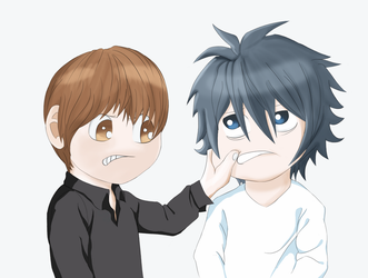 Death Note Fanart L and Kira by IqbalSandy