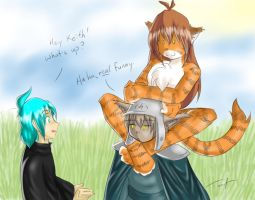 Flora ontop of Keith by Twokinds