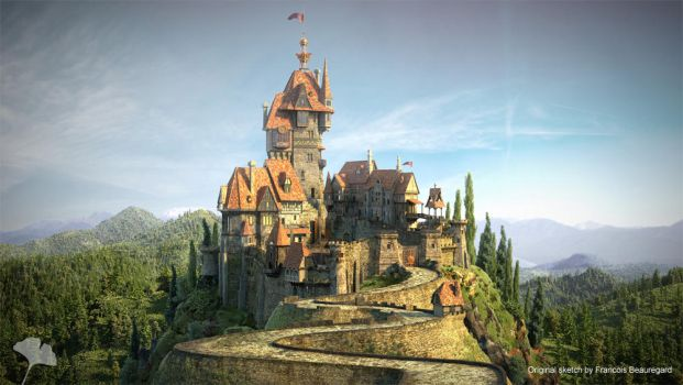 Castle Over The Hills by GinkoVisuals