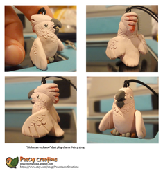 Moluccan cockatoo charm by FoxedFerret