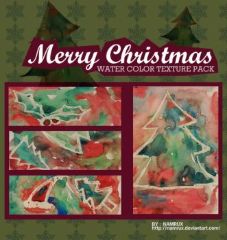 Merry Christmas watercolor texture pack by namrux