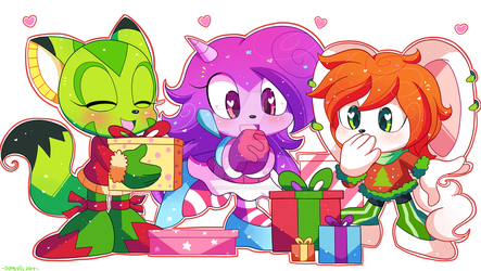 Freedom Planet Chibi Christmas by DarkSonic250