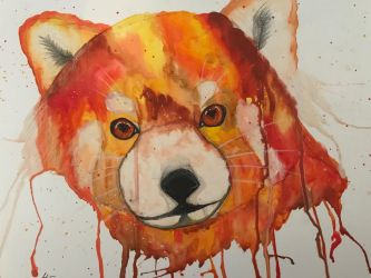 Watercolour Red Panda by velvetlace-x