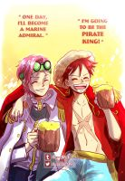 The future Pirate King and his Admiral friend by shevoj