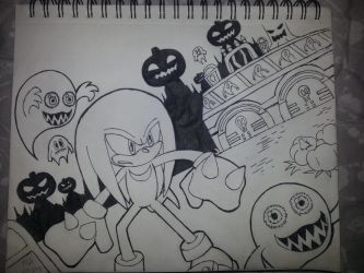 Knuckles in Pumpkin Hill (inked) by RGXSuperSonic