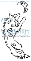 Leaping Celestial Wolf Tattoo by WildSpiritWolf
