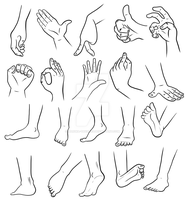Concept Art I - Hands and Feet by Haruka-Tavares