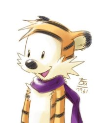 Hobbes with his scarf by aun61