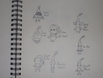 Snow Brittany and the Seven Pikmin by rabbidlover01