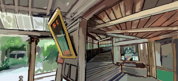 Virtual Plein Air Study of Sazaedo Hall by Birgitte-Gustavsen