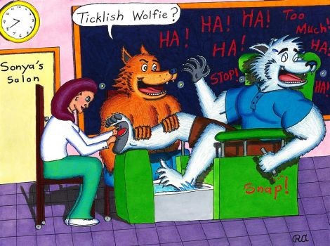 Ticklish Male Werewolf Pedicure by WalterRingtail