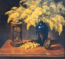 Wattle with my treasures-OIL PAINTING by AstridBruning