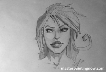 Pencil sketch of a female face by discipleneil777