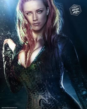 Amber Heard Mera Art by Bryanzap