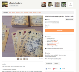 Inked Adventures Map n Dice Playing Cards on Etsy by billiambabble