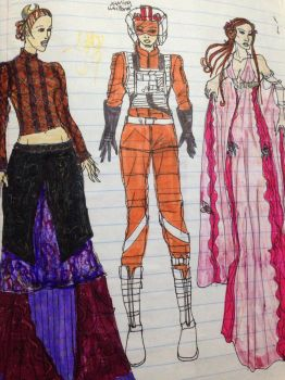 2005 Star Wars Ep 9 Jaina costume doodles  by Selinelle