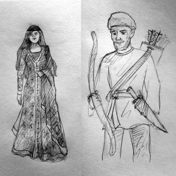 Woman and man in ancient Persia by GhitaBArt