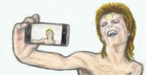 Ziggy Stardust taking a selfie with an iphone by gagambo
