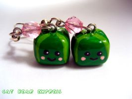 Square Watermelon Earrings by mAd-ArIsToCrAt