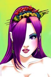 Psylocke with flowers by sincomix
