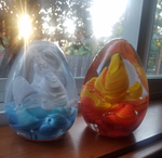 Glass Blown Ice and Sky Egg by TheDryIceDragon