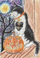 Halloween cat watercolor aceo painting by tulipteardrops