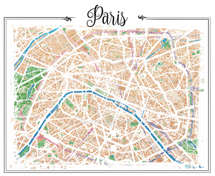 Watercolor map of Paris by rouages