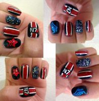 Mass Effect Galaxy Manicure by mistressling