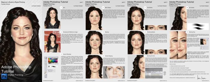 Digital Portrait Painting Tutorial Sheet by sahabiha