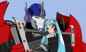 Commission: Optimus Prime and Miku by PDJ004