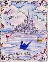 Mont St Michel and Paper cranes (2) by ERWANLEGAL