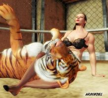 Beauty Queen vs. a Tiger: 1 by mit19237