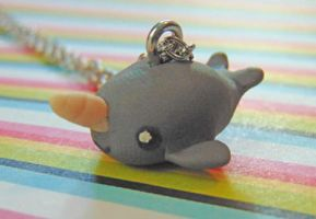 Clay Narwhal Charm Necklace by SolarCrush