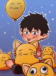 Rin and cats by Laughe