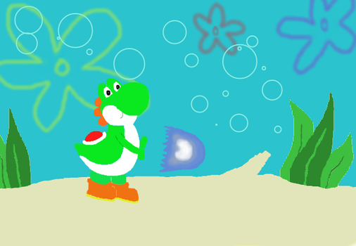 Yoshi in Bikini Bottom Doing a Hadouken by Smartstocks
