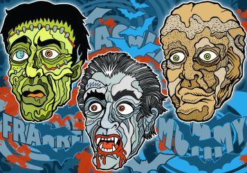 Frankenstein Dracula The Mummy by RossRadiation