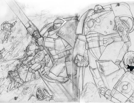 Battle..ROUGH..Pencils by SharpWriter